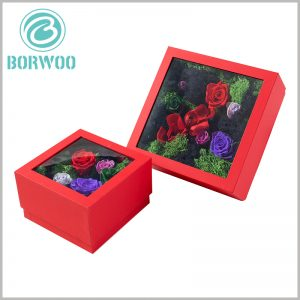 custom flower packaging boxes with pvc windows. The customizable flower packaging has different sizes to meet different marketing needs.