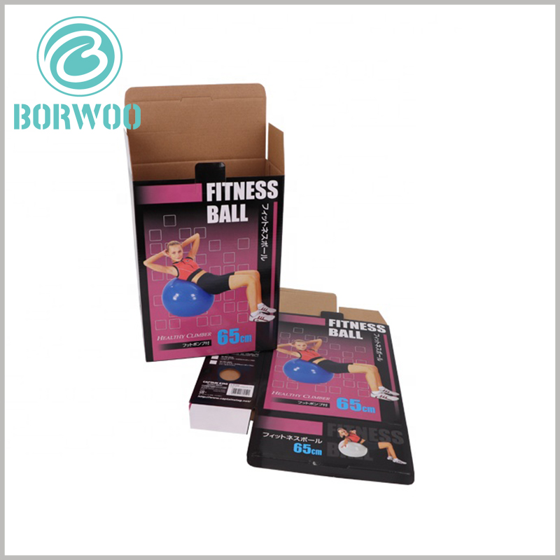 custom foldable packaging for fitness ball.The foldable packaging can be fully folded when not in use, which will minimize the packaging space.
