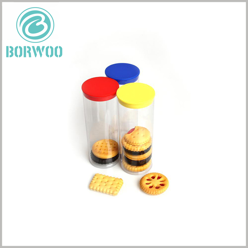 clear food grade plastic tube packaging for cookies. The custom-made plastic tube packaging has high airtightness, which can protect the biscuits inside the packaging.
