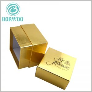 custom gold cardboard candle boxes. Brand information is printed on the top cover of luxury candle packaging boxes, and the top cover of the packaging is the easiest place to get customers' attention.