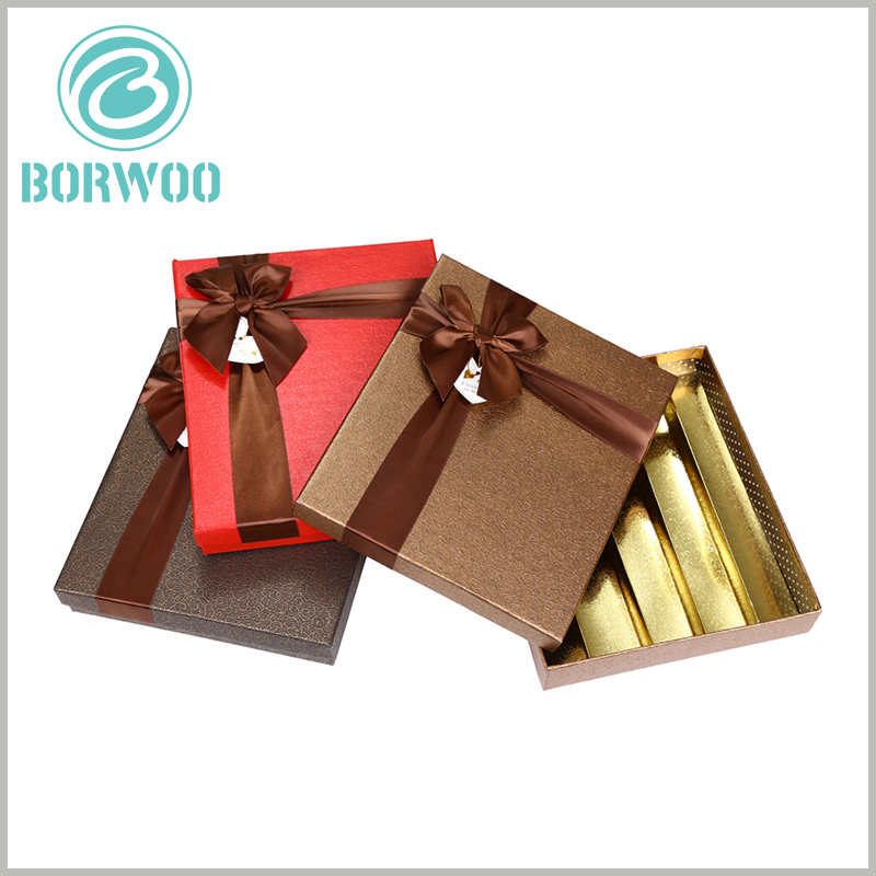 custom large gift boxes packaging for 30 chocolates. The wide brown silk serves as gift bows and plays an overall decorative role for chocolate packaging