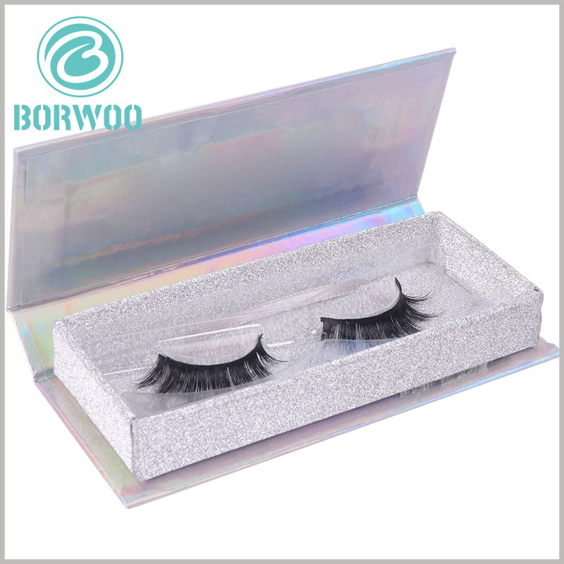 custom luxury silver glitter eyelash box packaging. There are clear blister packaging inside the fashion cosmetic boxes to fix the mink eyelashes.
