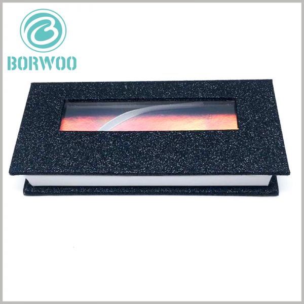 custom mink eyelash box packaging with window. The shiny black paper is used as the laminated paper for packaging, which improves the artistry and attractiveness of false eyelash packaging.