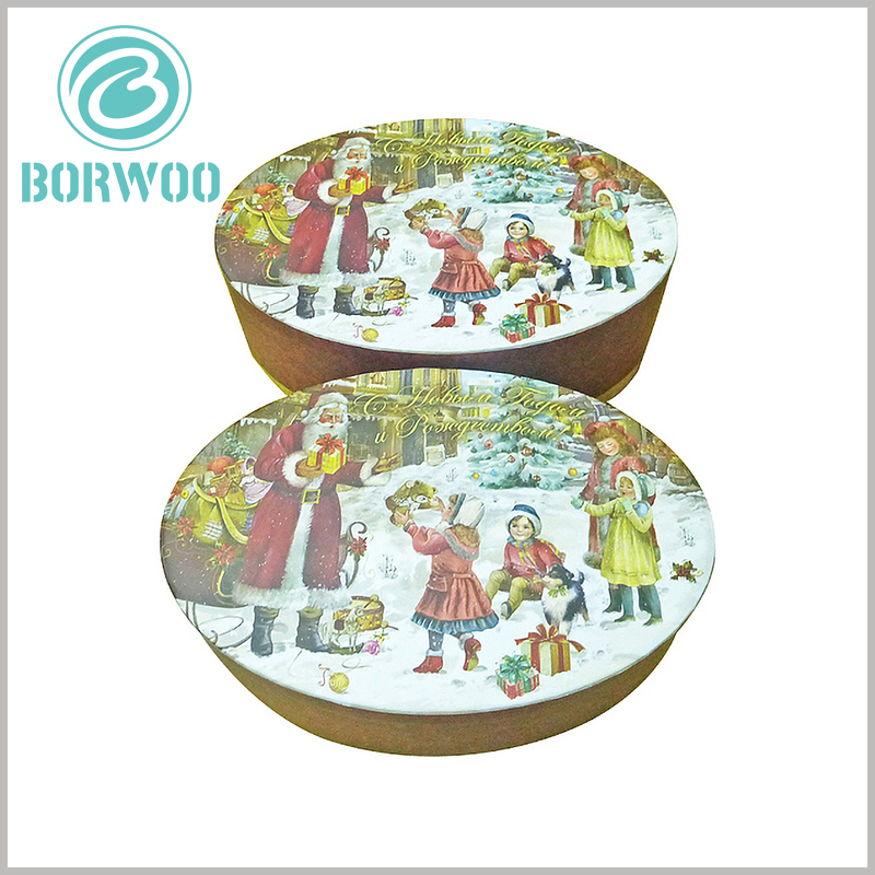 custom oval packaging for christmas gift boxes. The raw material characteristics of gift boxes increase the thickness and hardness of the packaging, which can increase the durability of the packaging