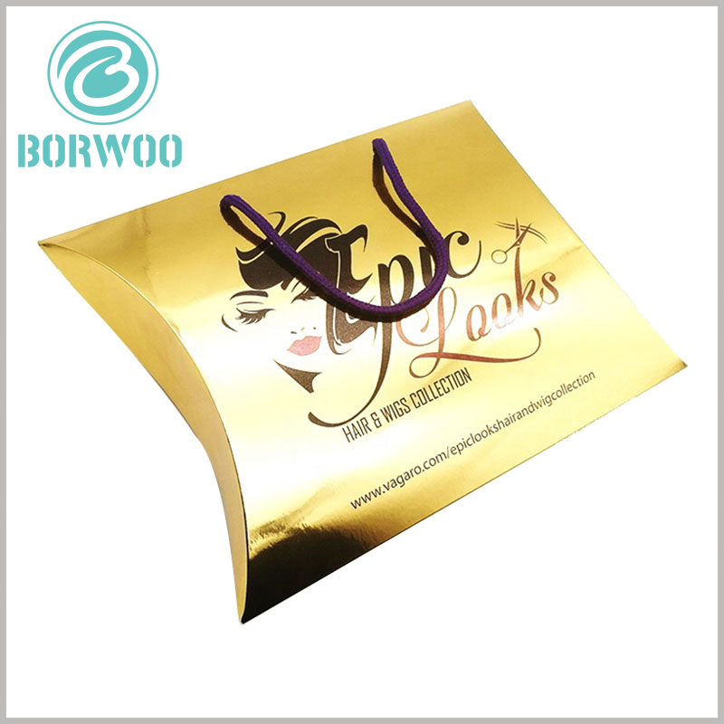 custom packaging boxes for hair extensions. The golden wig packaging boxes have good value, and the brand name design combines the wigs to make the packaging more artistic.