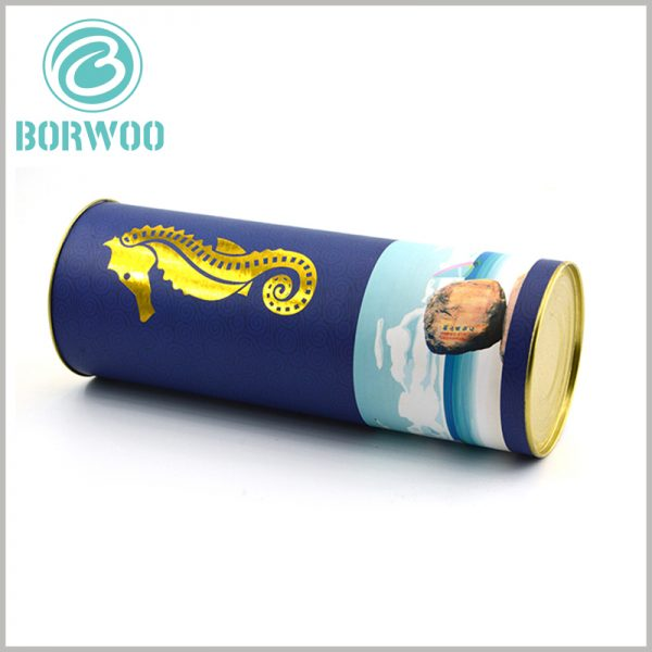 custom paper food tube packaging with Metal cover. The bottom of the customized paper tube is sealed and packaged with a metal iron cover, which is one of the most common practices for food tube packaging.