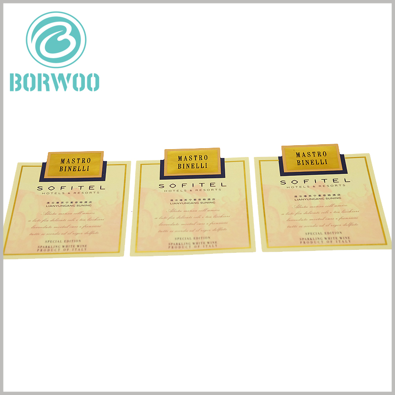 custom paper label for wine bottles.Custom labels are very cheap, but the information contained in their printed content can promote brand building.