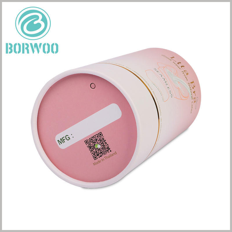 custom paper tube box for bra packaging. The QR code printed on the bottom of the customized cylinder packaging is one of the ways to promote more brand information.