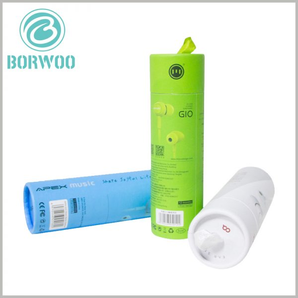 custom paper tube boxes for earphone packaging. The parameters of electronic products are important to customers. Customers can learn more about earphones through the printed content on the cylinder packaging.