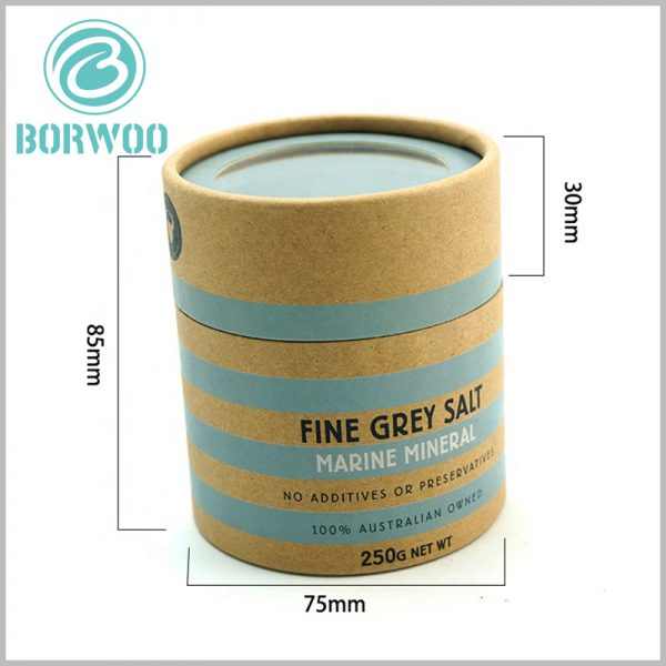 custom paper tube packaging for 250g salt with windows. Fashionable color schemes and printed text messages enhance the attractiveness of the packaging and make it easier for customers to understand the product