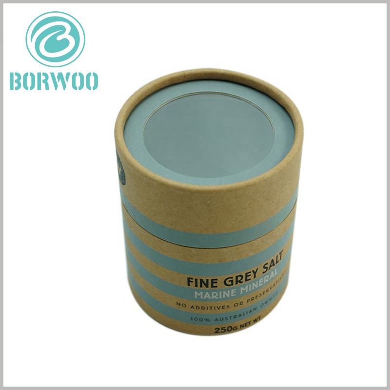 custom paper tube packaging for 250g sea salt with windows. The diameter of the food paper tube packaging is 75mm, the height is 85mm, and the lid height is 30mm.