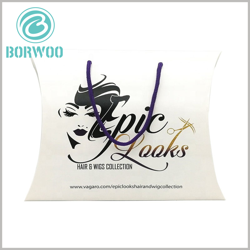 custom pillow packaging boxes for hair extensions. The white pillow boxes are equipped with fine hemp rope as handles, which can make it easier to carry wig products.