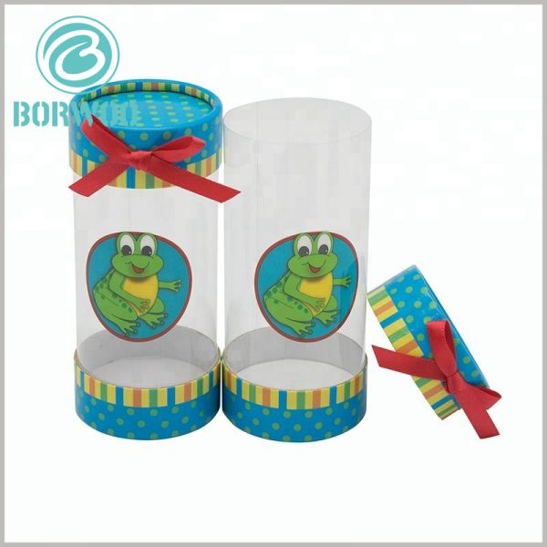 custom plastic tube gift boxes with bows. Small red silk is used as gift bows, and plastic tube packaging will be decorated more beautifully and valuable.