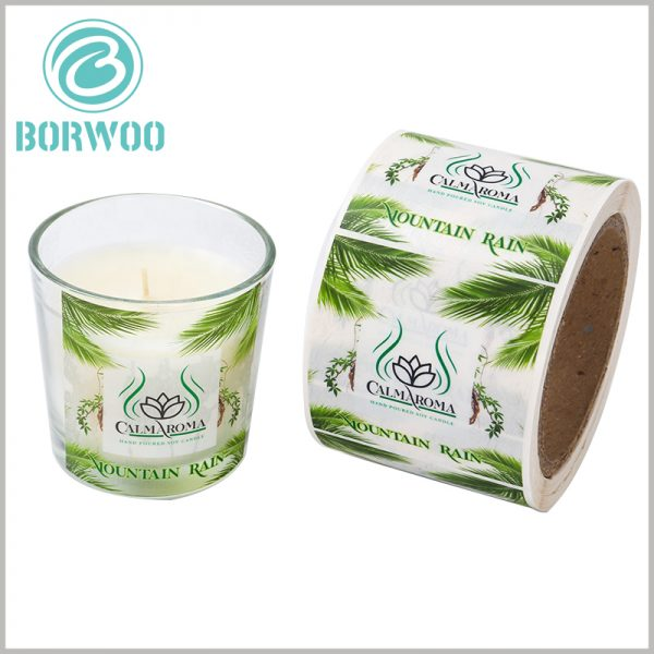 custom printalbe plastic label for candles.The printed plastic candle label has translucent characteristics, which has a good display effect on the aesthetics of clear candle jars.