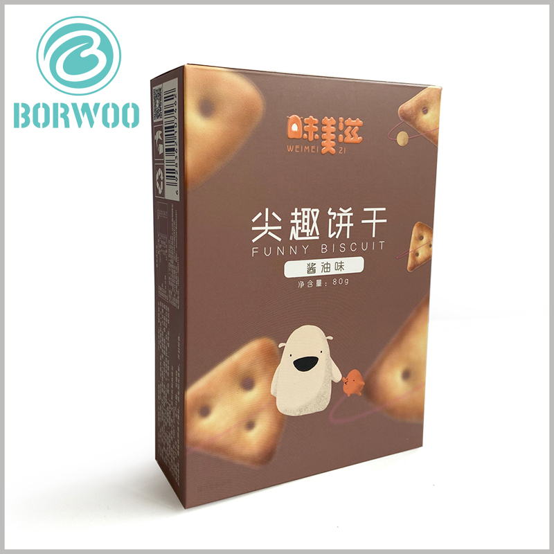 custom printed cardboard package for cookies. Custom packaging patterns and printed content can improve the attractiveness and pertinence of packaging.