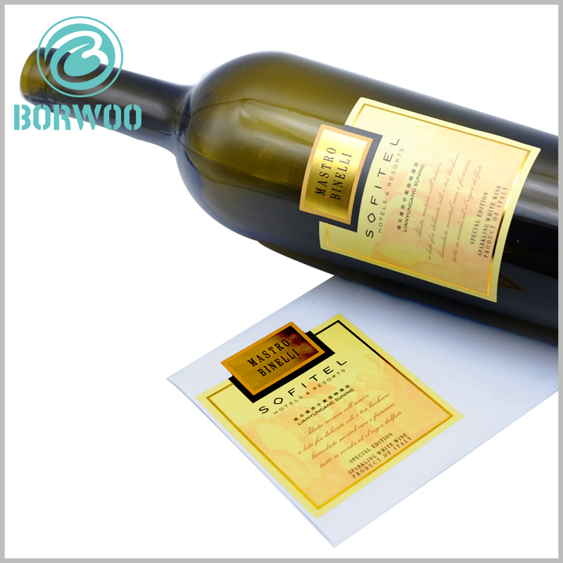 custom printed label for wine bottles.The customized label is pasted on the specific position of the red wine bottle, which can increase the display content of the red wine.