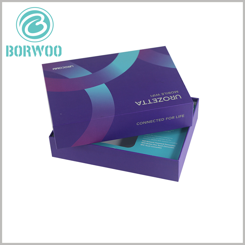 custom printed packaging boxes for moblie wifi. The appearance of the product packaging can be customized to reflect the characteristics of the product.