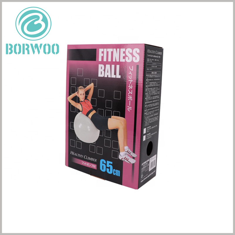 custom printed packaging for fitness ball. Through the printed content of the corrugated paper packaging, you can easily understand the characteristics of the product, use effects, etc.