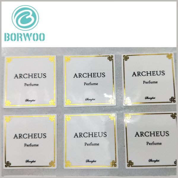 custom printed paper labels for perfume.Customized square paper labels use customized content to promote specific information.