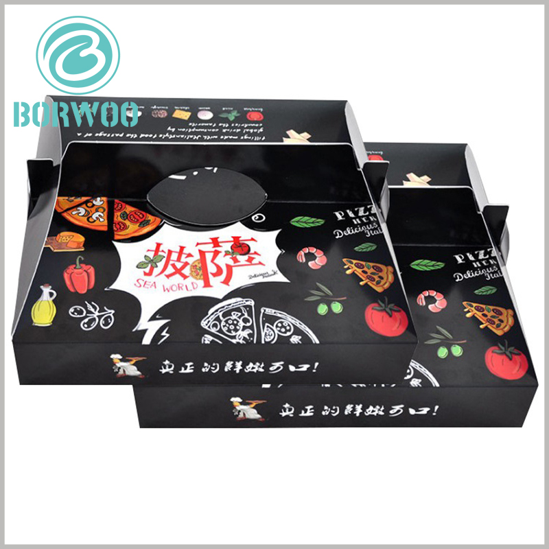 custom printed pizza boxes with handles. Printable corrugated paper packaging is an important way for pizza shops or chain stores to promote information, which can increase the attractiveness of brand.
