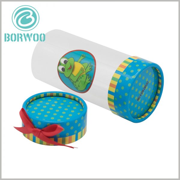 custom printed plastic tube gift boxes with bows. The printed content of custom packaging needs to be combined with the characteristics of the product to act as a product salesperson.
