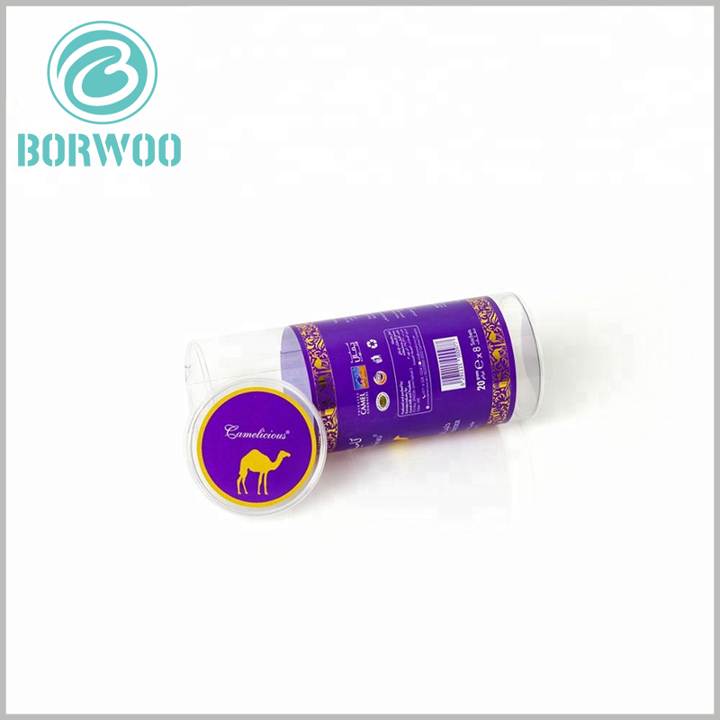 custom printed plastic tube packaging for candy. The plastic tube packaging can be printed with specific content, such as the composition and taste of the candies, to reflect product differentiation and to attract customers to buy.