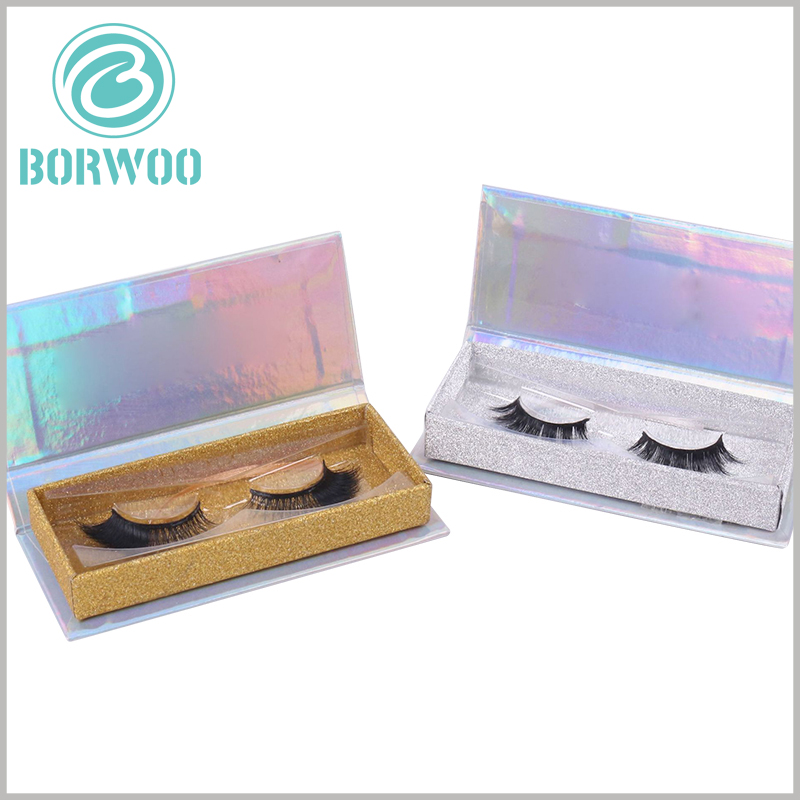 custom silver glitter eyelash box packaging. The inner box of customized eyelash packaging boxes, using gold cardboard or hard cardboard as decoration, is more conducive to bring out the value of the product.
