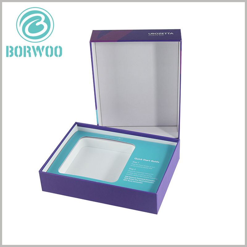 custom small packaging for moblie wifi. Small cardboard boxes with lids wholesale, can print unique content according to the product.