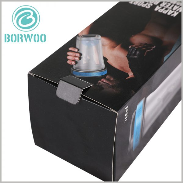 custom sport water bottle packaging box. A buckle is provided at the sealing of the package, which has a positive effect on fixing the sealing of the package.