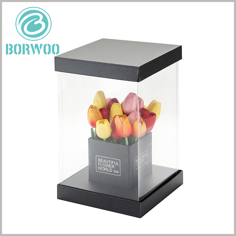 custom square dispaly boxes for flower packaging. Custom flower packaging can determine the structure and size of the packaging according to the size and characteristics of the product, as well as the specific printed content.