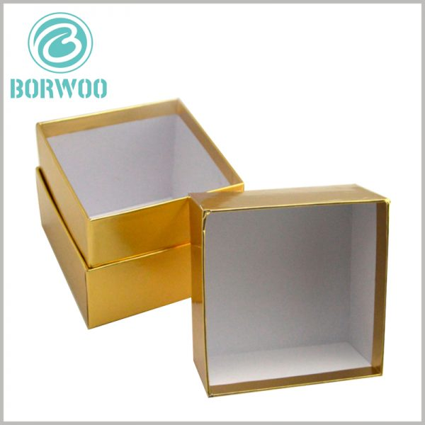 custom square gold cardboard boxes for candles. Hard cardboard candle boxes have a sturdy outer box that can provide excellent protection for the product.