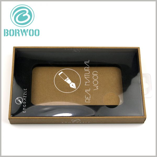 custom tempered glass screen protector packaging boxes with windows. There is a black EVA box inside the custom package to fix the product and avoid product shaking.