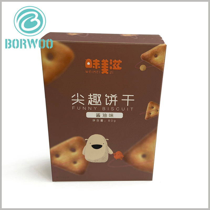custom zipper open cardboard package for cookies. CMYK printing enables the appearance and content of the packaging to be targeted to promote branded cookies, which is one of the best product marketing methods.