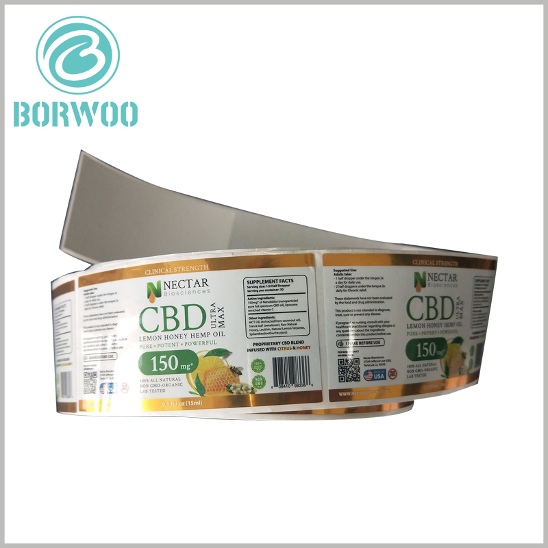 essential oil roller bottle labels custom.128gsm double copper paper is used as the raw material for customized labels, and the content of the printed labels is determined according to the product and market demand.