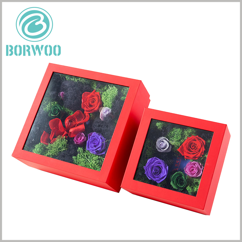 flower packaging boxes with pvc windows. Flower gift boxes can customize the packaging size to meet the needs of different products.
