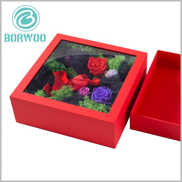 flower packaging boxes with windows. Transparent PVC is used as the window of the package, which can satisfy the customers' desire to peep into the flowers and increase the value of the product