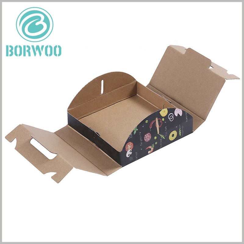 foldable Corrugated pizza boxes with handles. The corrugated paper packaging can be spread out flat when not in use, which saves the packaging space and storage space to the greatest extent.