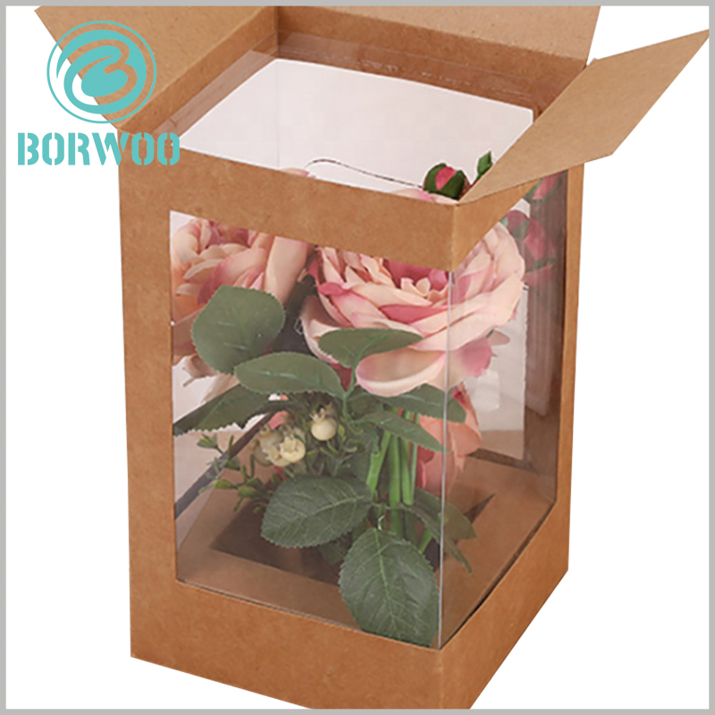 foldable Kraft paper boxes with window for flower packaging. Custom boxes use kraft paper as raw materials, thus reducing packaging manufacturing costs.