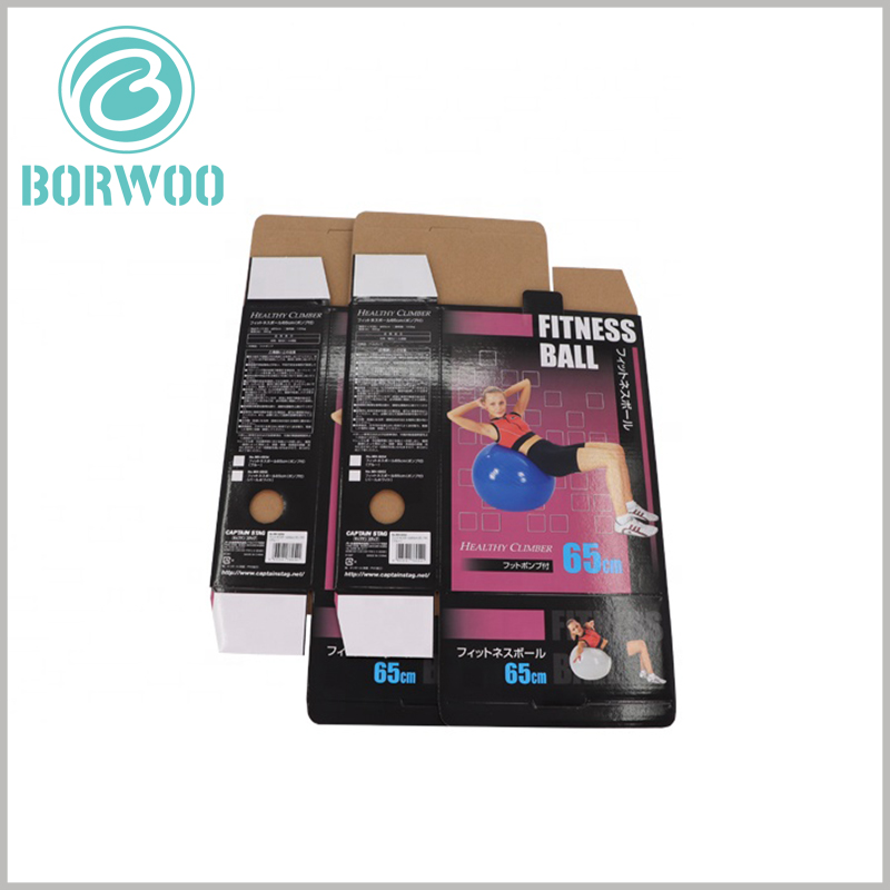 foldable corrugated packaging for fitness ball. Custom packaging and printing of specific information about sports products is conducive to product promotion and brand building.