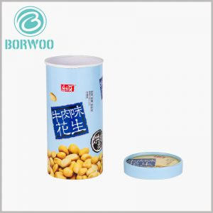 food grade paper tube for peanut packaging. Food-grade round boxes with lids can print product-related content to promote products.