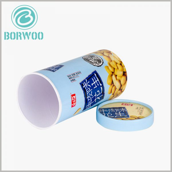 food grade peanut packaging boxes. The bottom of the food-grade paper tube packaging is pure white, and the other parts of the cylindrical packaging are colored patterns and text.