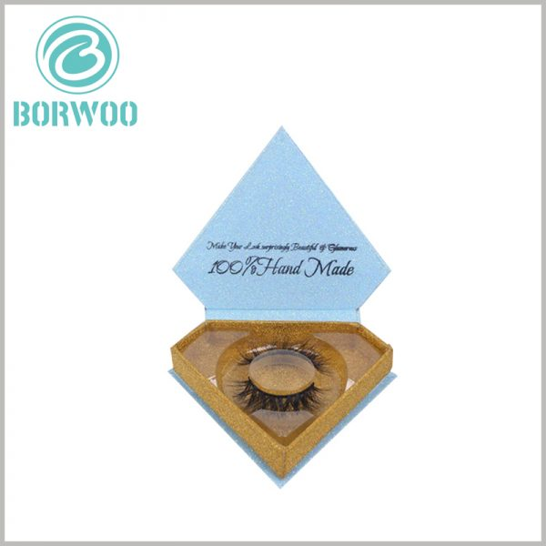 glitter diamond shape eyelash packaging boxes. The inside of the lid of the blue false eyelash boxes is printed with the brand name and promotional slogan, which repetitively deepens the customer's impression of the product