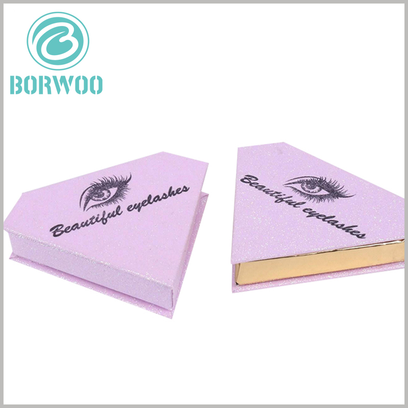 glitter diamond shape eyelash packaging with idea. The pink false eyelashes packaging box, the eyes use the cartoon pattern of false eyelashes as the main design of the packaging design, which increases the creativity of the packaging.