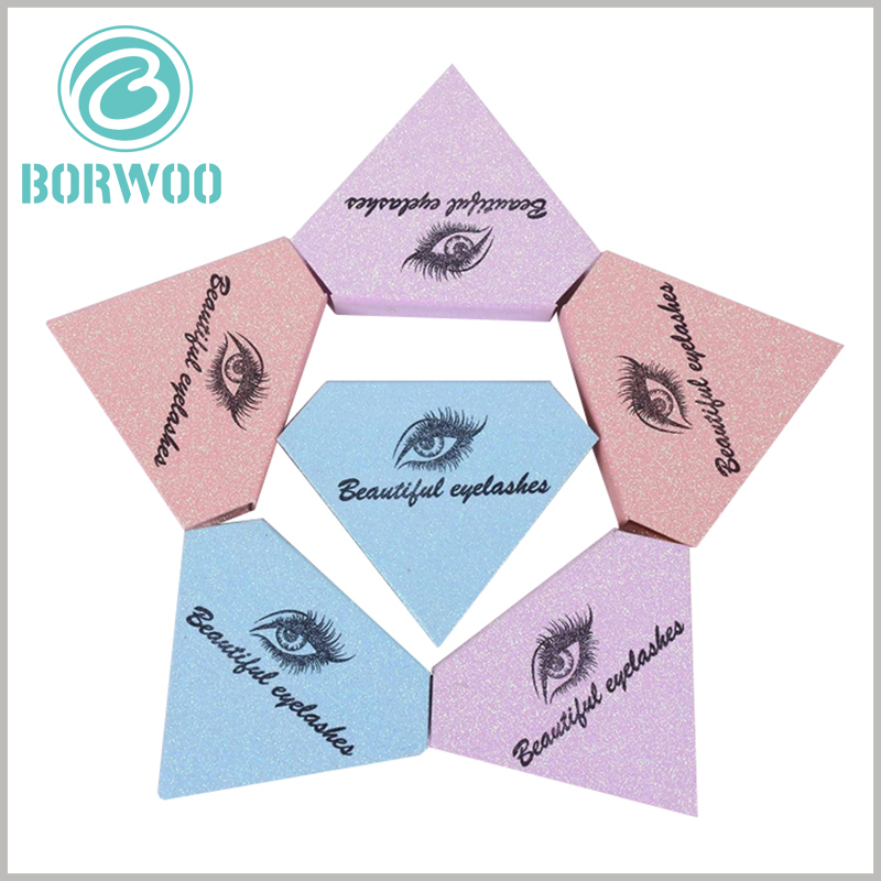 glitter diamond shape eyelash packaging with logo. It is very necessary that the false eyelash brand is printed on the top of the boxes, which can increase the value of the product and facilitate brand building.