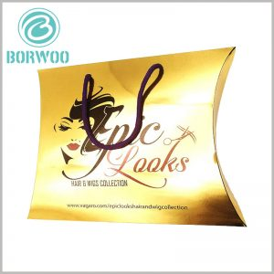golden pillow packaging boxes for hair extensions. Gold cardboard is used as the packaging material for wig boxes, and the visual appearance of the packaging is luxurious gold, which can better reflect the value of the product.