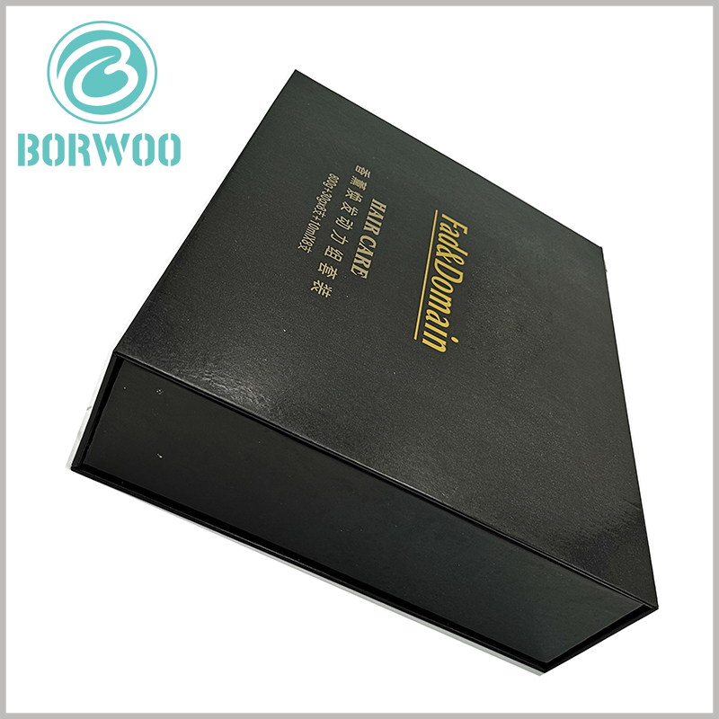 hair care product packaging boxes with logo. The black product packaging box has a unique visual effect and can better reflect the characteristics of the product.