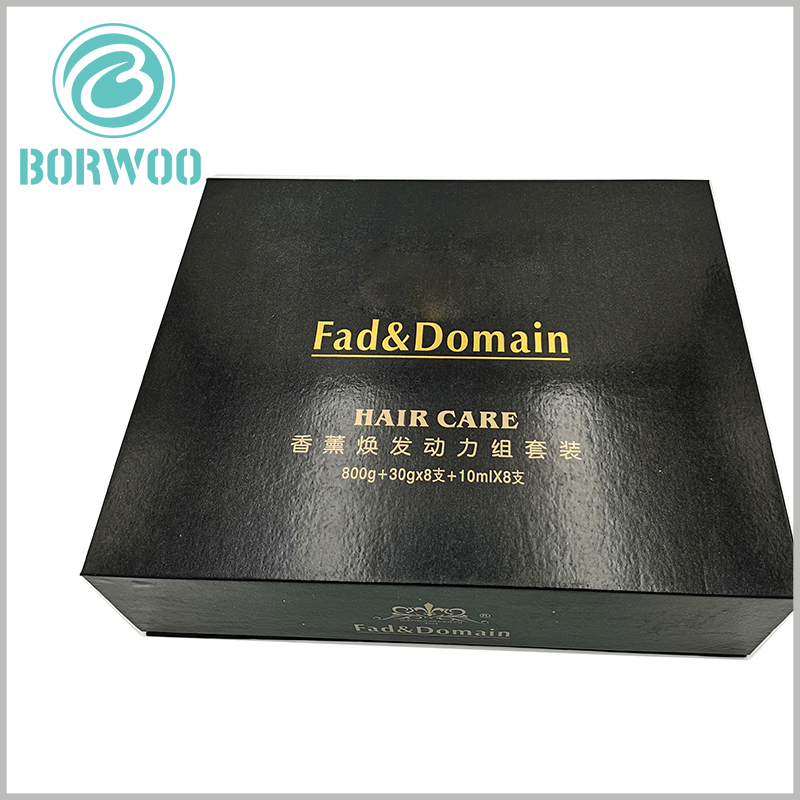 hair care product packaging boxes. The black packaging box can be customized, and the text formed by bronzing printing can be advertised for specific products and brands.