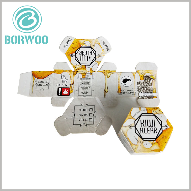 hexagonal food packaging boxes tempalte. We have an experienced food packaging design team that can give professional advice on packaging structure design.