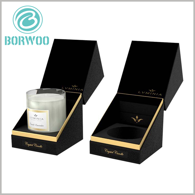 high-end black candle jar packaging boxes. There are EVA inserts inside the single candle jar package to fix the product and maintain the stability of the product.