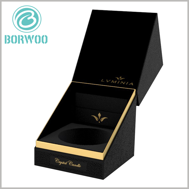 high-end black candle packaging boxes with insert. The brand name and logo of the candle are printed by bronzing, and the golden fonts, patterns, and the black background form a sharp contrast.